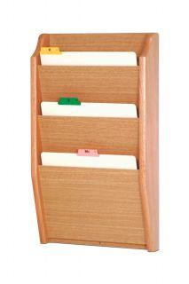Wooden Mallet 3 Pocket Letter Size Office File Holder Display Rack Furniture