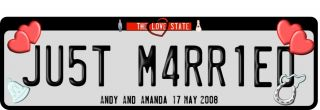 Just Married Number Plate Novelty US Style 2 Sizes Now Includes Magnetic