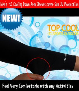 Men's 2c Cooling Down Arm Sleeves Cover Sun UV Protection Black White Blue