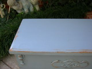 Shabby Fabulous Vintage Old Cedar Hope Chest Trunk Coffee Table Chic French Blue