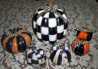 6 Pumpkins Artsy Harlequin Check Hand Painted Mackenzie Childs Ribbon Bows