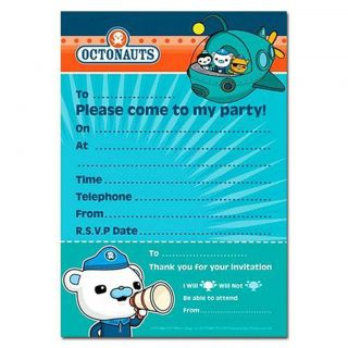 Octonauts Birthday Party Supplies Pack of 8 Invitations 19 5cm x 14 5cm
