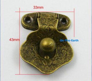 4 Antique Brass Decorative Hasp Jewelry Box Hasp Lock Latch 33x43mm with Screws