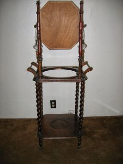 Vintage Antique Wood Wash Stand Mirror Candle Oil Lamp Holders Chair