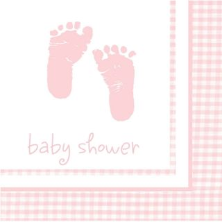 Pink Baby Girl Footprints Plaid Luncheon Napkins Baby Shower Party Supplies