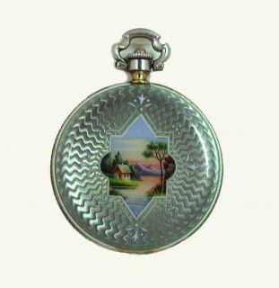 Pendant Pocket Watch 4KT Gold Enameled Aviva Watch Co 1900s