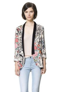 New Women Lapel Long Sleeve Short Suit Blazer Outerwear Printing Jackets Coat