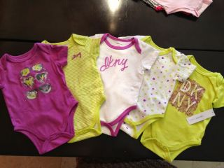 5 Pcs DKNY Baby Girls Bodysuit Shirt Clothes Green Purple White Size 3 6M