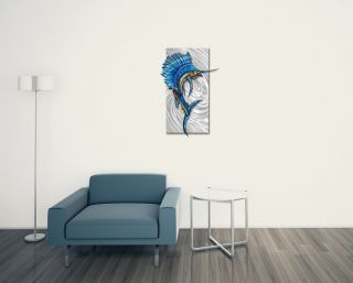 Metal Wall Art Contemporary Home Decor Abstract Wall Sculpture 'Sailfish 2'