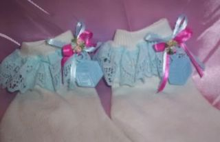 Adult Baby Sissy CD Bootie Socks Blue Lace Pink Ribbons