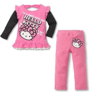 2 PC Toddler Girl Hello Kitty Cotton Outfit L s Set 2 3 4 5 6 Years