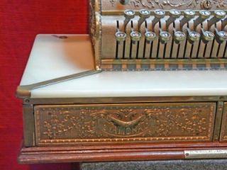 Antique National Brass Marble Double Drawer Cash Register