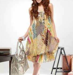 Summer Halter Tube Fashion Dress Mix Floral Yellow