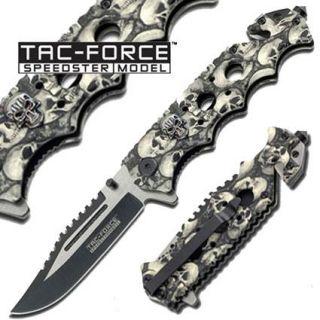 SKULL CAMO Black Grey Handle SPRING Assisted Folding KNIFE TacForce TF809G