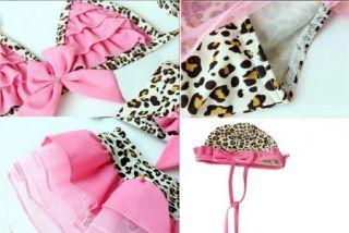 Girls Leopard 2 3Y Swimsuit Swimwear Bathing Costume Tankini Pink Bowknot Bikini