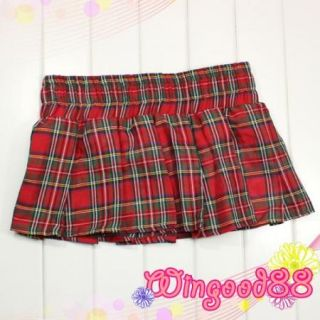 Sexy Naughty School Girl Cosplay Costume Dress Bra Top Mini Plaid Skirt Lingerie