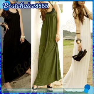 Sexy Womens Beach Tie Neck Wooden Beads Design Skirt Maxi Boho Halter Long Dress