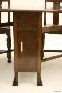 Antique Art Deco 1940s Oak Dining Table Chairs