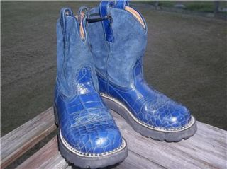 Ladies Ariat Fat Baby Boots Blue Croc Look 6 1 2 B Gently Used L K