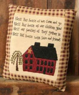 """Small Embroidery Pillow 11x13"""" Inspirational Poem Primitive Saltbox House Willow"""