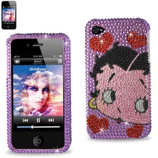 iPhone 4 4S Purple Betty Boop Hearts Rhinestones Diamond Protector Case Cover