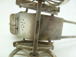 """Antique 925 Sterling Silver Miniature Incense Burner Rickshaw 4"""" Long 70 Grams"""