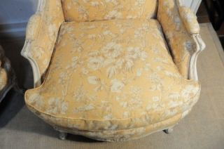 Pair French Painted Louis XV Sty Wing Back Bergere Arm Chair Attr Maison Jansen