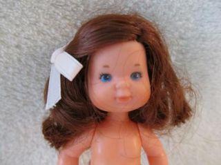 Mattel Rosebud Baby Toddler Barbie Doll Brown Hair Blue Eyes Hair Bow Undies