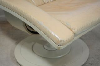 Vtg Mid Century Swedish Modern Nelo Flight High Leather Swivel Lounge Chair