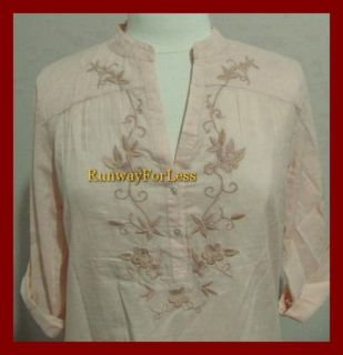 Lucky Brand Clothing Womens Medium Orange Embroidery Flower VNeck Top Blouse