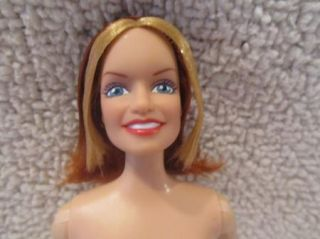 Nude Barbie Doll Red Hair Blonde Bangs Cat Tattoos Blue Eyes Open Smile New