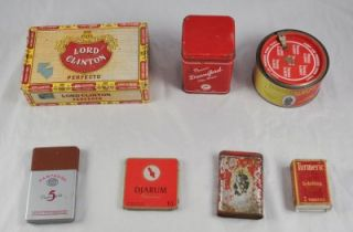 Lot of 6 Tobacco Tins Cigar Box Donniford Prince Albert Partagas Djarum CC3G8