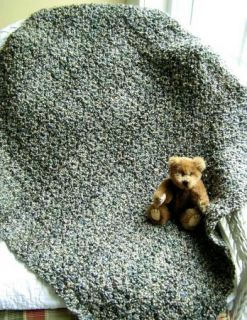 Baby Blanket Crochet Afghan Wrap Lion Homespun Beige Blue Green Discontinued