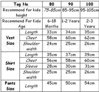 E0140 Boy Baby Gentleman Clothing Cap Vest Shirt Pants Tie 5pcs Outfit Set S0 3Y