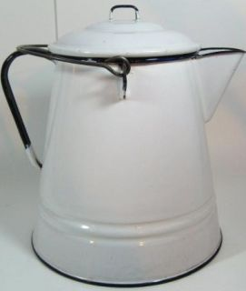 Large White Enamel Coffee Kettle Pot Pitcher Enamelware
