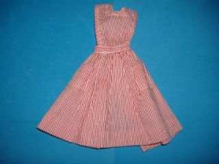 Vintage Barbie Candy Striper Volunteer Striped Pinafore Apron