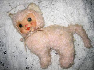 Vintage Rubber Face Plush Cat Poseable Legs Ribbon Flowers Pink Cute