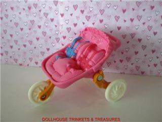 Fisher Price Loving Family Dollhouse Twin Babys Nursery Fold Up Stroller