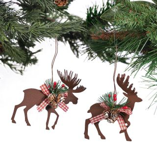 Rustic Metal Die Cut Moose and Deer Ornaments Christmas x mas Holiday Decoration