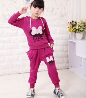 Lovely Kids Hood Sports Wear Baby Clothing Outfit Girls Sports Suit Clothes 2 6Y