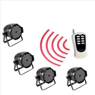 Wireless 4pcs High Power 3W 54 RGBW LED Par 64 LED Stage Light Double Yokes