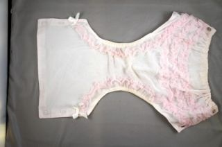 Vintage Plastic Rubber Baby Pants Diaper Cover Snaps Pink Frilly Doll Clothes