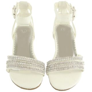 Girls Strappy Rhinestones High Heel Dancing White Sandals Pageant Toddler Youth