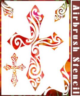 2 Cross Airbrush Stencil Pattern Artwork Home DIY Painting Party Decor 003025Y 9