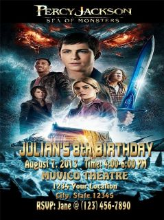 Percy Jackson 2 Movie Birthday Party Ticket VIP Pass Invitations Favor UPRINT