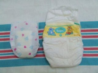 Micro Preemie NICU Diaper for Reborn OOAK Baby Teddy Bear Hearts Tiny