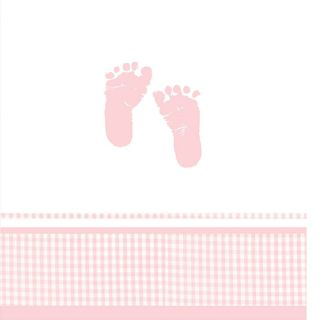 Pink Baby Girl Footprints Plaid Table Cover Baby Shower Party Supplies