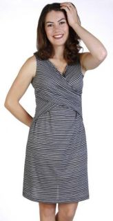 New Japanese Weekend Maternity Stripe Cross x Front Nursing Dress $80 Sleeveless