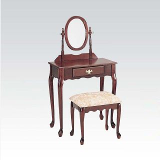 3 PC Queen Anne Cherry Wood Make Up Dressing Table Vanity Set w Mirror Bench