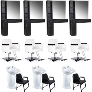 Beauty Salon Equipment Styling Station Chair Shampoo Backwash Unit Package EB 62